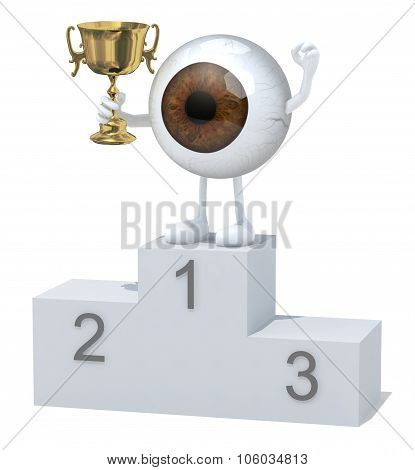 Eyeball With Winner Cup On Sports Victory Podium