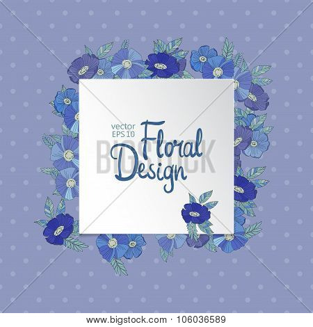 Blue floral border made with wildflowers