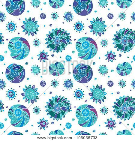 Decorative seamless background pattern with contour drawing of shells. Textile and wallpaper sea background