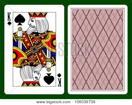 King of Spades playing card and the backside background. Faces double sized. Original design