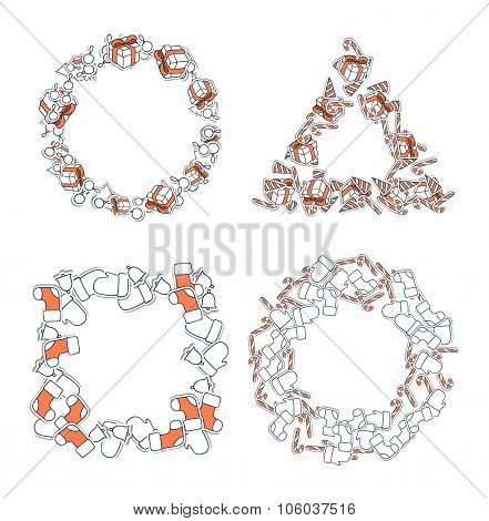 Set 4 Christmas framework from festive elements. Decor of text