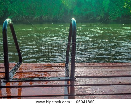 Green River With Teak Wood Flooring Stripes Summer Vacation.