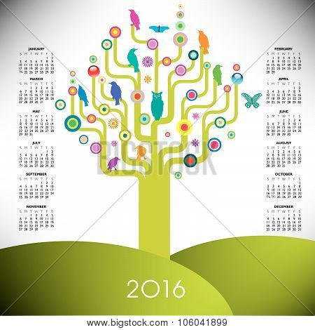 Colorful tree calendar for 2016