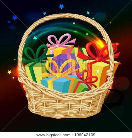 Basket Full Of Gift - Vector Illustration