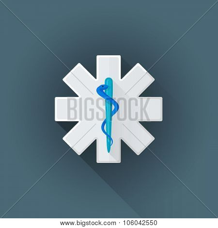 Vector Flat Ambulance Emblem Sign Illustration Icon.
