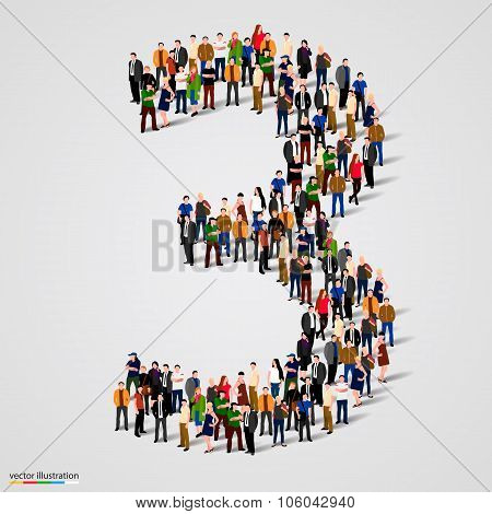Large group of people in number 3 three form
