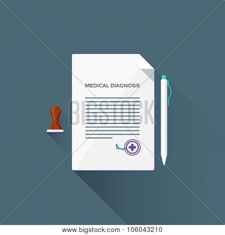 Vector Flat Medical Diagnosis Illustration Icon.