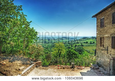 Beautiful Landscape Of San Gimignano Surrounding Area
