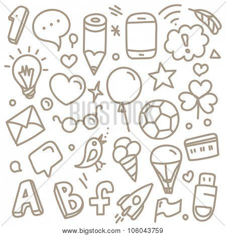 Different web interface silhouettes. Cartoon style sketch illustration vector clip-art