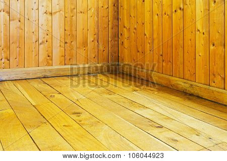 Old Varnished Wooden Floor And Wall Of  Room