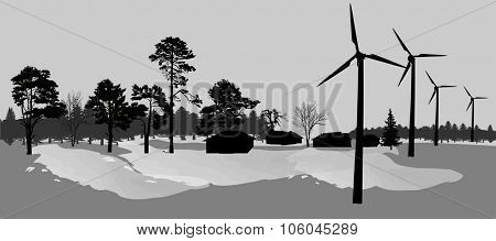 illustration with two wind power generator silhouettes in country landscape