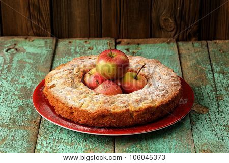 Homemade Yummy Round Apple Cake With Fresh Red Apples In The Middle