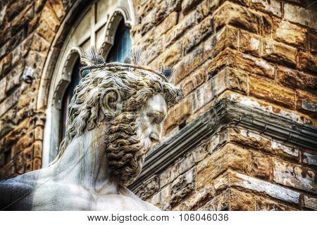 Close Up Of Neptune Statue Head In Piazza Della Signoria In Florence
