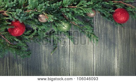 Christmas background with decorated pinetree
