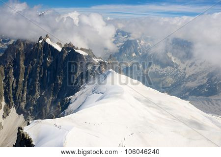 Mont Blanc Massif in Chamonix, Alps, France.