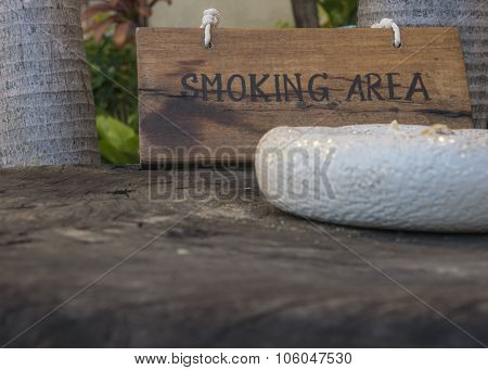 Smoking Here Sign Wooden Wood Tobacco Public Concept