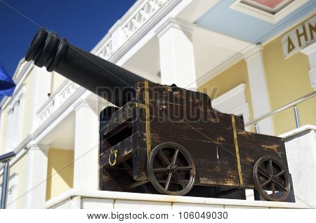 memorial cannon on Salamis town hall Greece