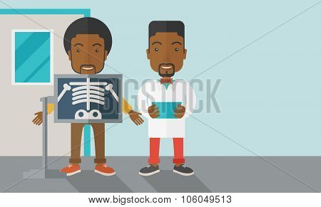 An african-american patient with x-ray screen showing his skeleton and doctor holding a radiograph vector flat design illustration. Horizontal layout with a text space for a social media post.