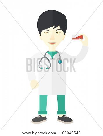 An asian pharmacist standing vector flat design illustration isolated on white background. Vertical layout.