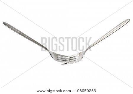 Two forks interlocked as fight conflict concept