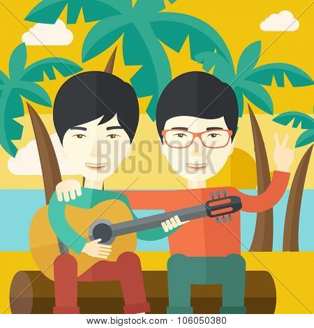 Two happy asian men sitting on a log playing a guitar at the beach under palm trees vector flat design illustration. Square layout.
