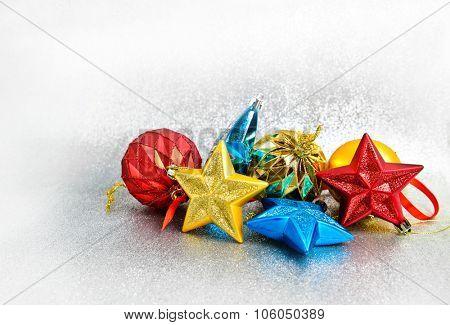 Christmas decoration on glitter background