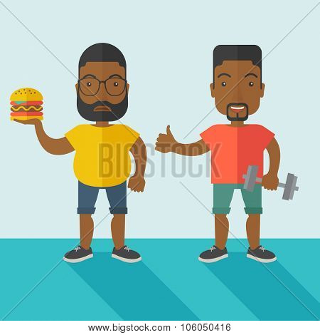 Thick african-american man with beard standing with hamburger while slim african-american man standing with dumbbell vector flat design illustration. Lifestyle concept. Square layout.