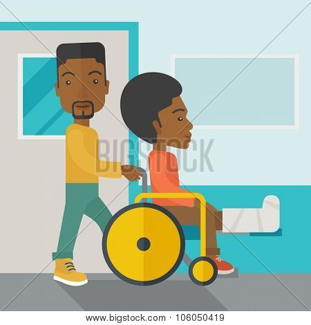 An african-american man carrying a patient with broken leg in the wheelchair vector flat design illustration. Square layout.