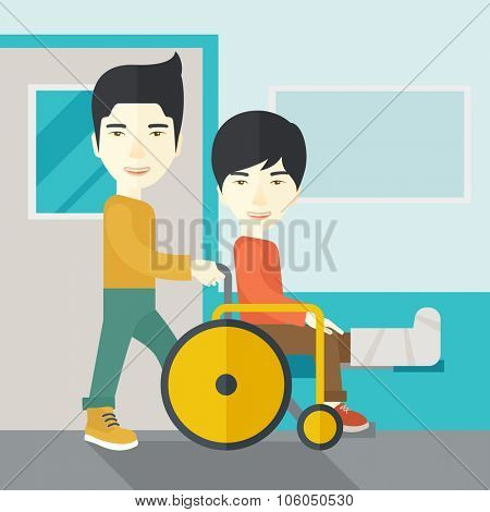 An asian man carrying a patient with broken leg in the wheelchair vector flat design illustration. Square layout.