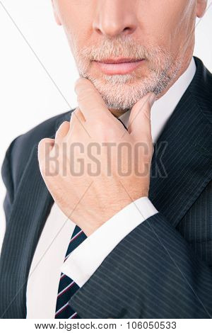 Intelligent Businessman With Gray Beard Ponders Putting His Hand On Chin