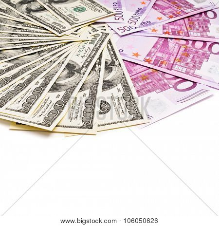 dollars and euro currency fan isolated on white