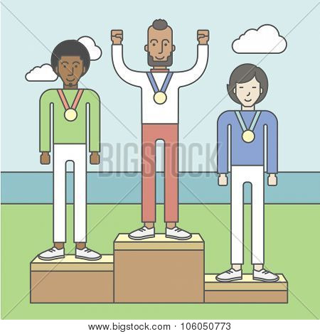 Three male athletes with medals standing on a pedestal. Vector line design illustration. Square layout.
