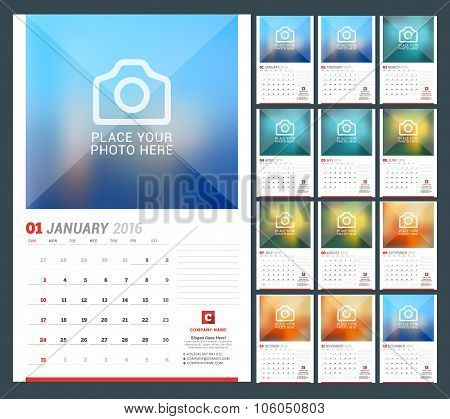 Wall Calendar Planner For 2016 Year. Vector Design Print Template With Place For Photo, Notes And Co