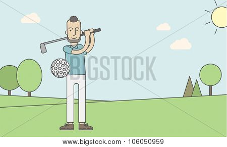 A caucasian golf player with beard hitting the ball in the field. Vector line design illustration. Horizontal layout with a text space for a social media post.