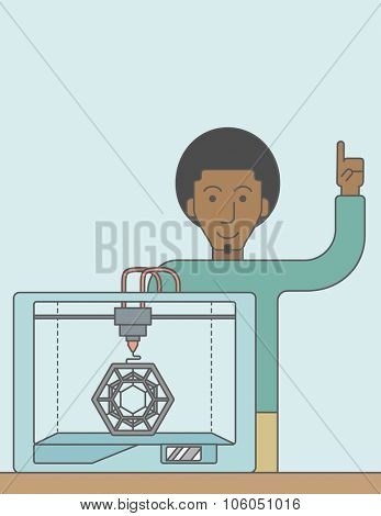 An african-american man standing with 3D printer and a raised hand. Vector line design illustration. Vertical layout with a text space for a social media post.