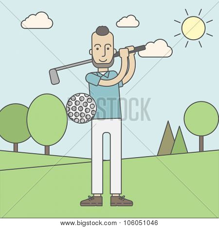 A caucasian golf player with beard hitting the ball in the field. Vector line design illustration. Square layout.