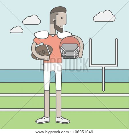 A caucasian hipster rugby player with ball and helmet in hands standing on the stadium. Vector line design illustration. Square layout.