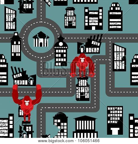 Wild Angry Gorilla Destroyed City Seamless Pattern. Big Monkey Broke Down Building. Devastation In C