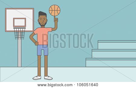 An african-american basketball player spinning the ball on his finger. Vector line design illustration. Horizontal layout with a text space for a social media post.