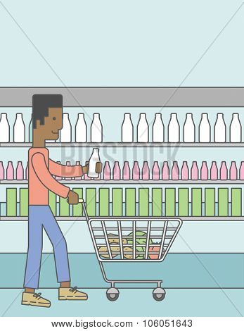An african-american man pushing a supermarket cart with some goods in it on supermarket background. Vector line design illustration. Vertical layout with a text space for a social media post.