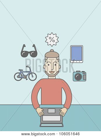 A caucasian hipster man with beard sitting in front of laptop and some icons of goods around him, symbolizing on-line shopping. Vector line design illustration. Vertical layout with a text space