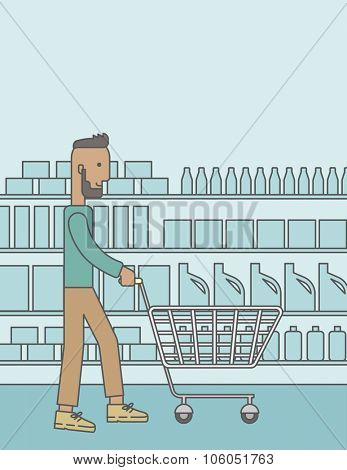 An african-american hipster man with beard pushing an empty cart in supermarket. Vector line design illustration. Vertical layout with a text space for a social media post.