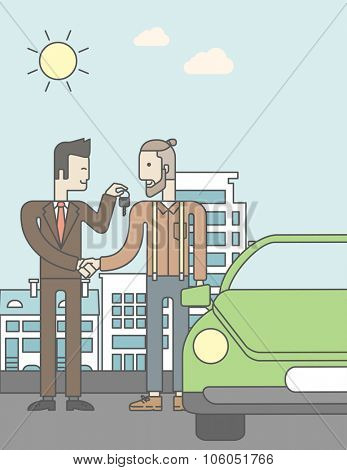 An asian car salesman giving the car keys to a new owner on city background. Vector line design illustration. Vertical layout with a text space for a social media post.