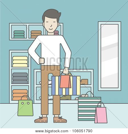 An asian man with some bags in hand and some bags on the floor in the store. Vector line design illustration. Square layout.