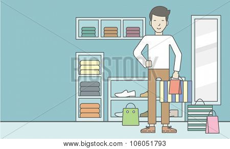 An asian man with some bags in hand and some bags on the floor in the store. Vector line design illustration. Horizontal layout with a text space for a social media post.
