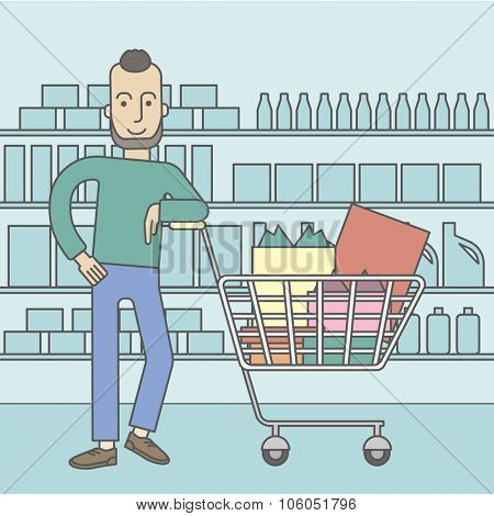 A caucasian hipster man with beard leaning on a supermarket cart full of goods. Vector line design illustration. Square layout.