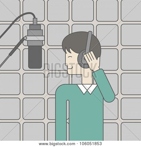 A cheerful asian singer in studio makes a record of his voice in microphone. Vector line design illustration. Square layout.