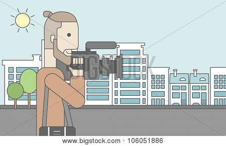 A caucasian hipster cameraman with video camera taking a video on a city background. Vector line design illustration. Horizontal layout with a text space for a social media post.