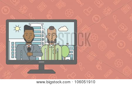 Television set broadcasting the news with an african-american reporter interviewing a man. Vector line design illustration. Horizontal layout with a text space for a social media post.