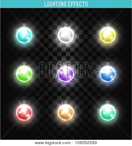Set of 9 lamps different colors. Shining, isolated realistic garland.